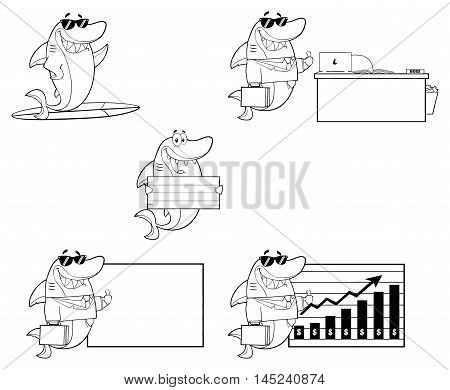 Black And White Shark Cartoon Character 3. Collection Set Isolated On White Background