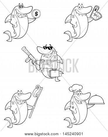 Black And White Shark Cartoon Character 4. Collection Set Isolated On White Background