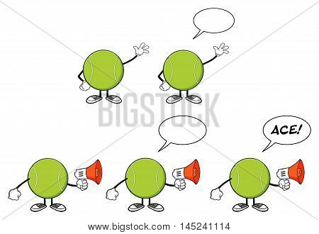 Tennis Ball Faceless Cartoon Mascot Character 1. Collection Set Isolated On White Background