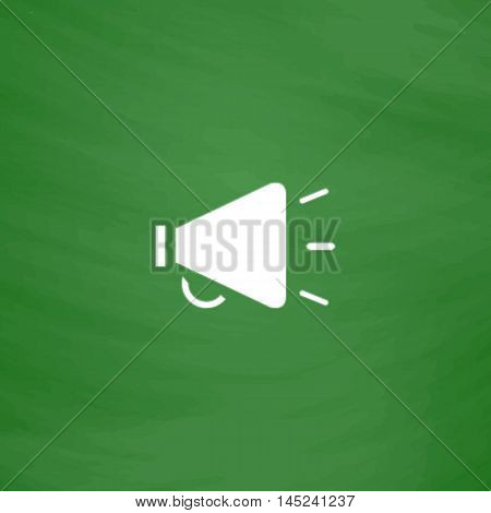 Simple mouthpiece. Flat Icon. Imitation draw with white chalk on green chalkboard. Flat Pictogram and School board background. Vector illustration symbol