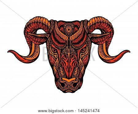 Ethnic horned sheep. Satan, lucifer, devil symbol Vector illustration