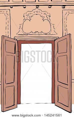 Brown Rococo Doorway Illustration