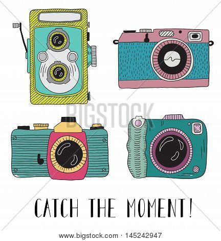 Photo cameras with lettering - Catch the moment. Vector hand drawn illustration.