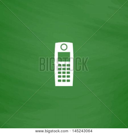 Retro mobile phone. Flat Icon. Imitation draw with white chalk on green chalkboard. Flat Pictogram and School board background. Vector illustration symbol