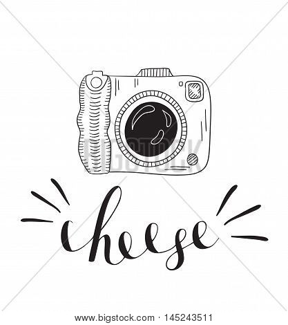 Photo camera with lettering - cheese. Vector hand drawn illustration.