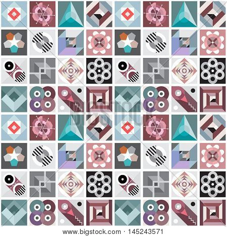 Abstract geometric seamless vector background. Composition of various geometric patterns and shapes.