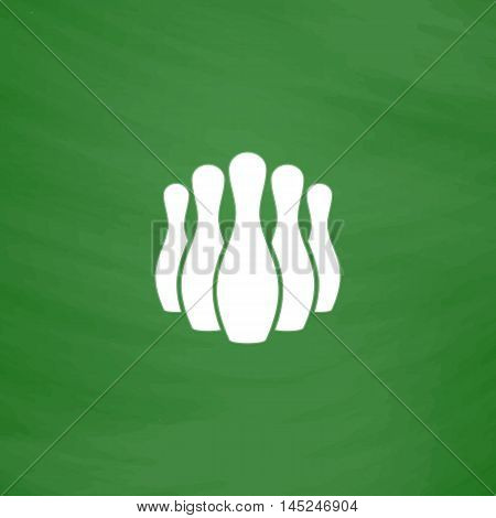Ninepins. Flat Icon. Imitation draw with white chalk on green chalkboard. Flat Pictogram and School board background. Vector illustration symbol