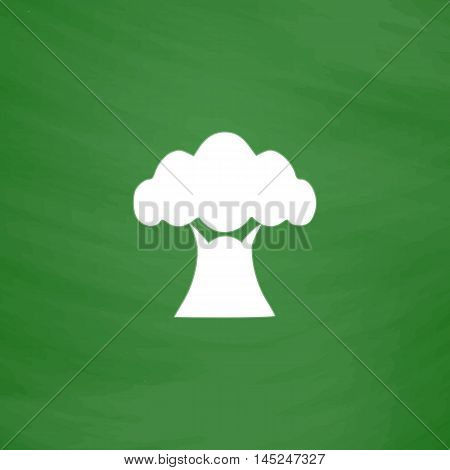 Baobab tree. Flat Icon. Imitation draw with white chalk on green chalkboard. Flat Pictogram and School board background. Vector illustration symbol