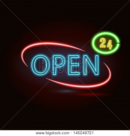Vector neon sign with type  Bar Open. Red and blue and yellow  neon lights.