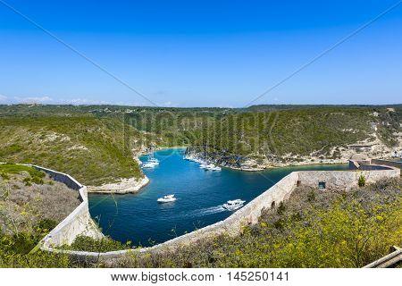 Arbor, Boats, Landscape And Blue Sky At Bonifacio, Corsica