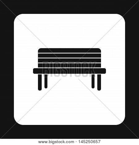 Wooden bench icon in simple style on a white background