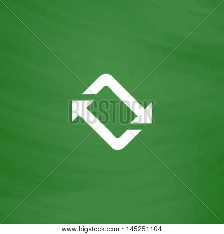 Spinning, rotating arrows. Flat Icon. Imitation draw with white chalk on green chalkboard. Flat Pictogram and School board background. Vector illustration symbol