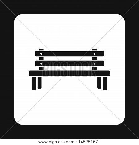 Outdoor wooden bench icon in simple style on a white background