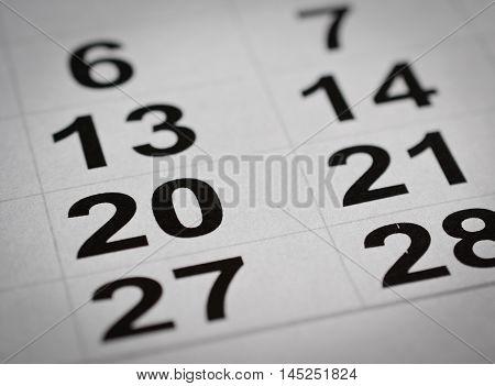 calendar number close up twenty holiday week