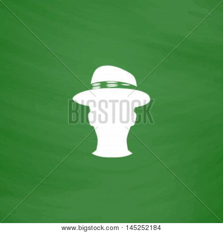 Man head with hat. Flat Icon. Imitation draw with white chalk on green chalkboard. Flat Pictogram and School board background. Vector illustration symbol