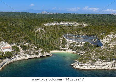 Isolated beach at Bonifacio in Corsica country