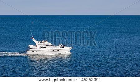 Luxury motor boat on a blue sea