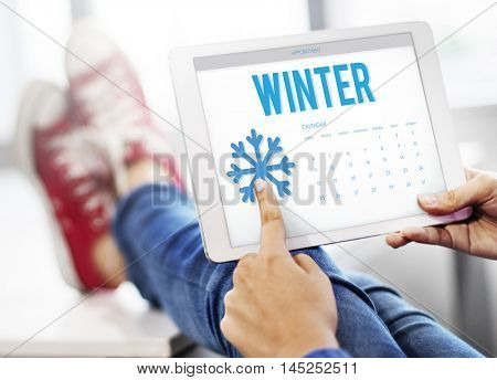 Winter Snowflake Cold Calendar Concept