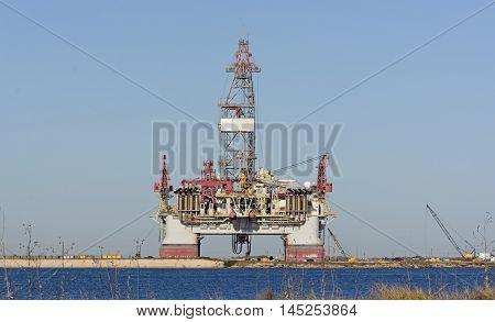 Offshore Oil Rig on Shore near Port Aransas Texas