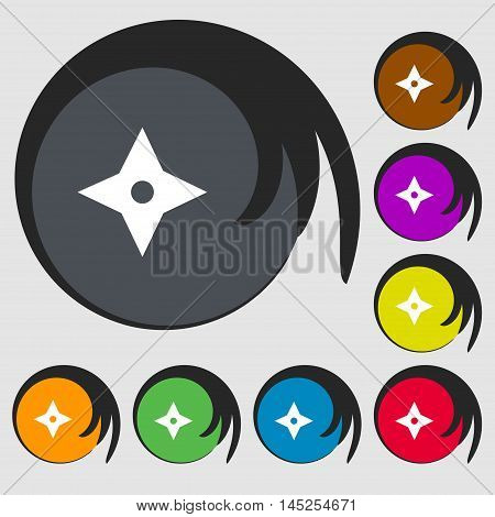 Ninja Star, Shurikens Icon Sign. Symbols On Eight Colored Buttons. Vector