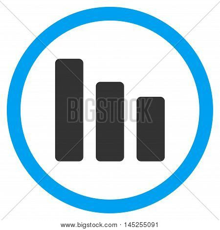 Bar Chart Decrease vector bicolor rounded icon. Image style is a flat icon symbol inside a circle, blue and gray colors, white background.