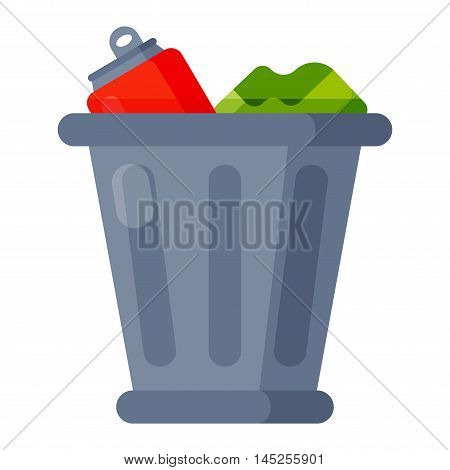 Trash bin garbage container and trash bin recycle symbol vector. Garbage trash bin flat vector isolated on white background. Full trash bin