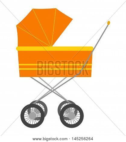 Orange baby carriage isolated on white background. Vintage nursing baby carriage kids transportation with black wheels. Vector baby carriage newborn family perambulator health care tool.