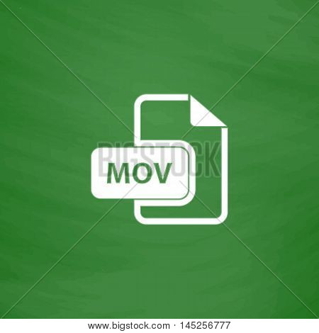 MOV video file extension. Flat Icon. Imitation draw with white chalk on green chalkboard. Flat Pictogram and School board background. Vector illustration symbol