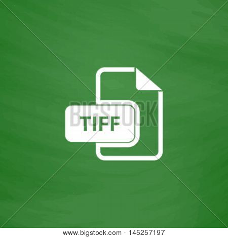TIFF image file extension. Flat Icon. Imitation draw with white chalk on green chalkboard. Flat Pictogram and School board background. Vector illustration symbol