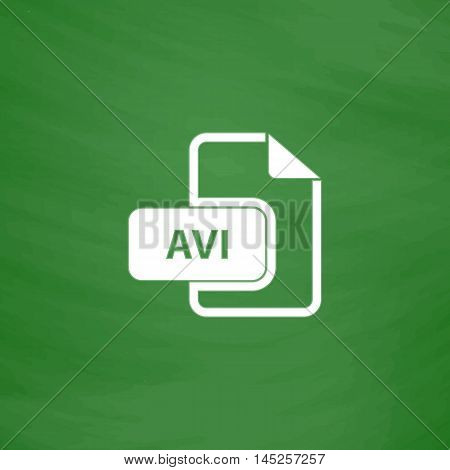 AVI video file extension. Flat Icon. Imitation draw with white chalk on green chalkboard. Flat Pictogram and School board background. Vector illustration symbol