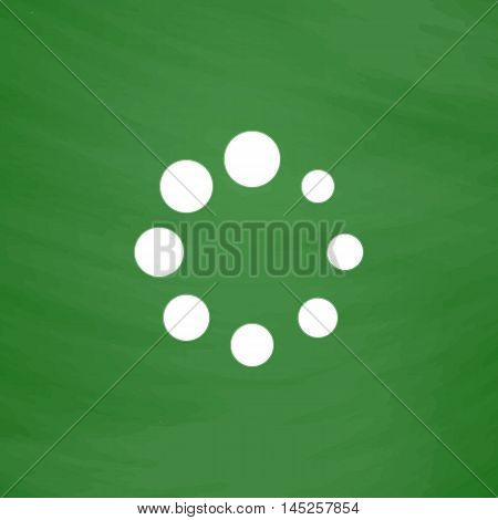 Loading, Streaming, Buffering, Play, Go. please wait. Flat Icon. Imitation draw with white chalk on green chalkboard. Flat Pictogram and School board background. Vector illustration symbol