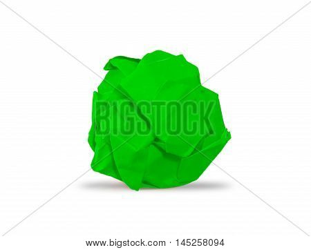 green crumpled paper ball with shadow picture