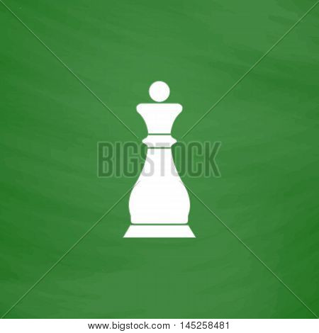 Chess queen. Flat Icon. Imitation draw with white chalk on green chalkboard. Flat Pictogram and School board background. Vector illustration symbol