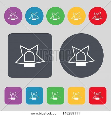 Police Single Icon Sign. A Set Of 12 Colored Buttons. Flat Design. Vector