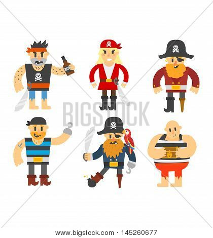 Cartoon pirate vector character isolated on white. Cartoon pirate character with sword, hat, skull and monkey. Funny cartoon pirates happy sailor boy costume. Fantasy kid adventure sea treasure man.