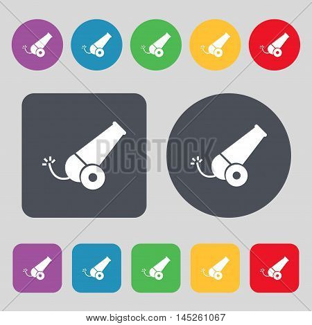 Cannon Icon Sign. A Set Of 12 Colored Buttons. Flat Design. Vector