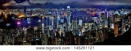 Hong Kong Night Skyline Skyscrapers Downtown Panorama