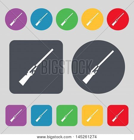Shotgun Icon Sign. A Set Of 12 Colored Buttons. Flat Design. Vector