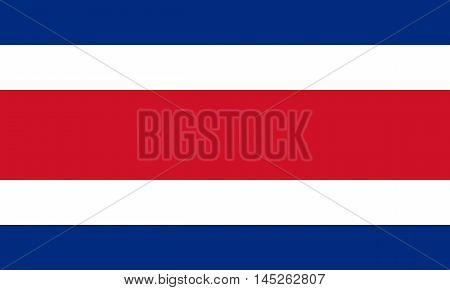 Flag of Costa Rica in correct size proportions and colors. Accurate dimensions. Costa Rican national flag. Vector illustration