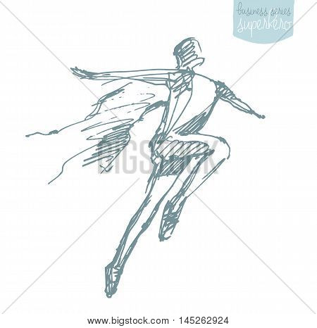Businessman with a waving cloak. Freedom aspiration winner creativity hero concept. Vector illustration sketch