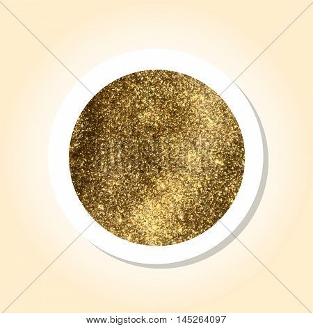 Gold Metallic texture inside a round sticker with a drop shadow and pastel background. Use for labels speech sale tags.