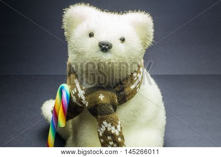 White Polar Bear Toy With Candy On Black Background