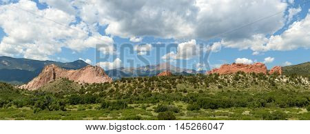 Panoramic View of the Garden of the Gods in Colorado Springs - Stitched from 6 images
