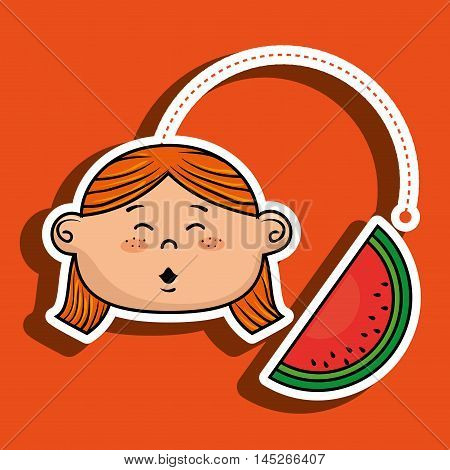 girl vegetable food health vector illustration graphic