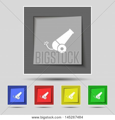 Cannon Icon Sign On Original Five Colored Buttons. Vector