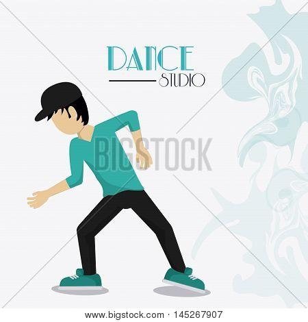 boy cartoon avatar dancer dance studio academy advertising icon. Colorful design. Splash background. Vector illustration