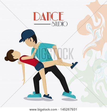 girl boy cartoon avatar dancer dance studio academy advertising icon. Colorful design. Splash background. Vector illustration