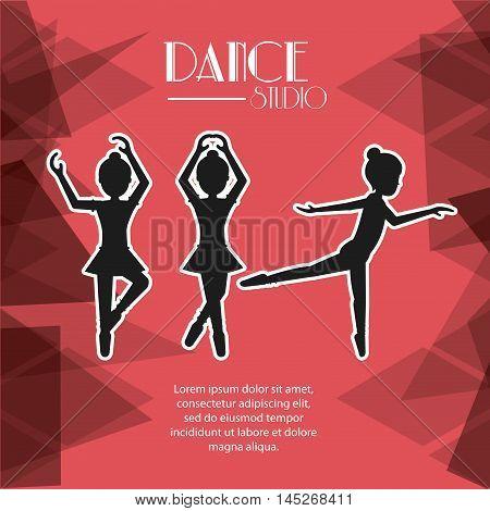 girl cartoons avatar dancer dance studio academy advertising icon. Silhouette design. Polygonal background. Vector illustration