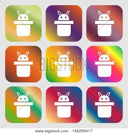 Magician Hat. Rabbit Ears Icon . Nine Buttons With Bright Gradients For Beautiful Design. Vector
