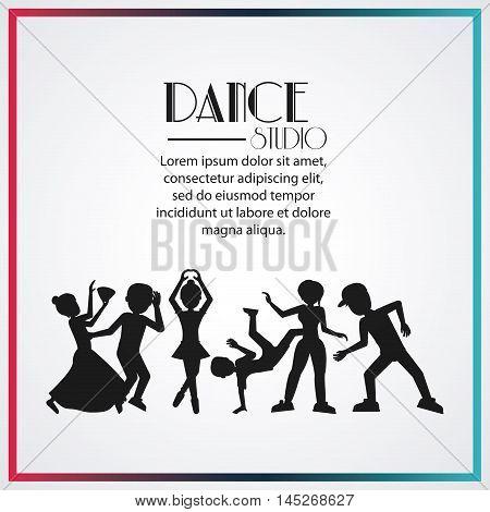 girls boys cartoons avatar dancer dance studio academy advertising icon. Silhouette and frame design. Vector illustration